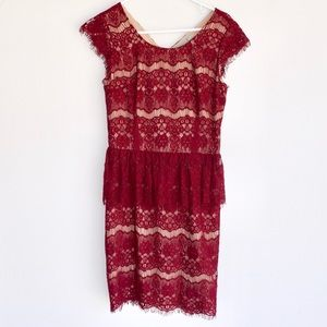 Anthropologie Burgundy Lace Dress-Maeve